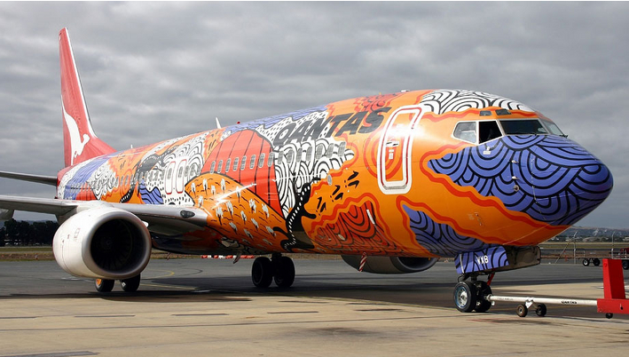 The 3rd of Qantas' DreamTime Aboriginal Jet designs on the 737