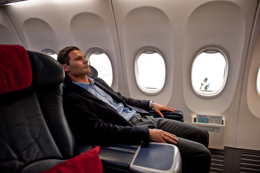 business class with a man