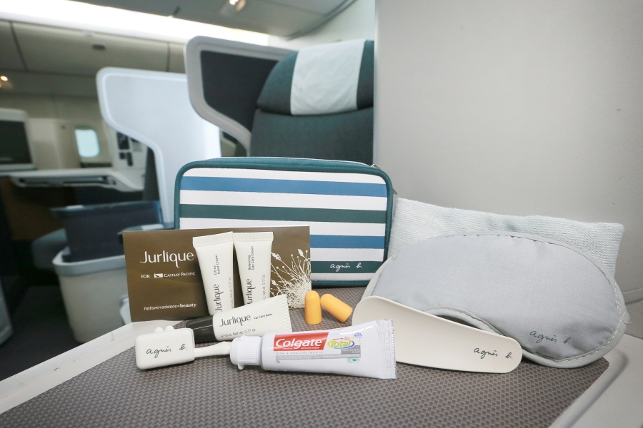 Cathay Pacificís newly launched Business Class male amenity kit for flights from Hong Kong