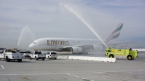 A Water Cannon Salute Welcomes the Emirates' A380 in Los Angeles