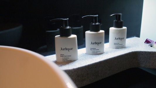 Jurlique products in business class toilets