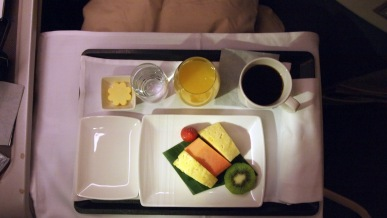 Cathay Pacific breakfast first course, fresh fruit in Business Class