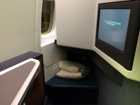 Legroom shot of the Cathay Business Class Seat