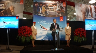Hubert Frach, Emirates' Divisional Senior Vice President Commercial Operations West speaking after the arrival of the airline's A380 in Los Angeles