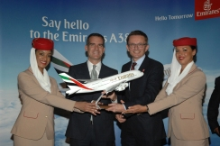 LA Mayor Eric Garcetti and Hubert Frach, Emirates' Divisional Senior Vice President Commerical Operations West Celebrate the Arrival of Emirates' A380 in LA