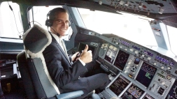 Los Angeles Mayor Eric Garcetti Experiences the Captain's Seat on the Emirates' A380 in Los Angeles