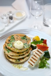 Emirates Spinach and Fresh herb pancakes
