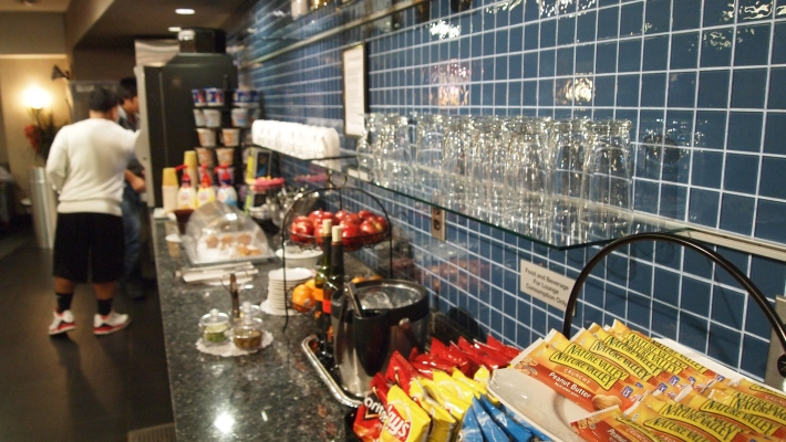 The self service bar in the lounge