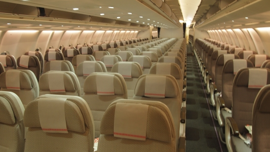 The neutral colours of the Fiji Airways economy cabin
