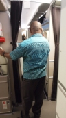 An example of the masi print shirt on the cabin crew