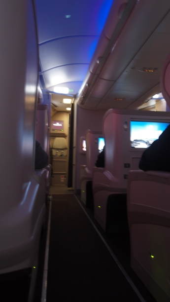 A small intimate business class cabin