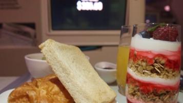 Breakfast pastries and yoghurt
