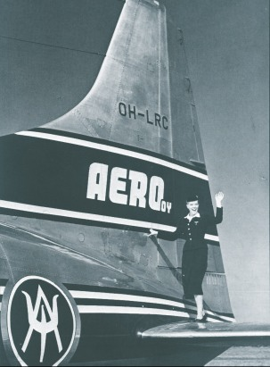 Stewardess on the tail plane of the Convair in 1953