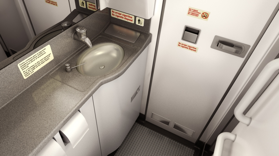 Geometric flooring in toilets. Airbus short-haul fleet