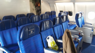 The mini economy cabin at the front of the A330