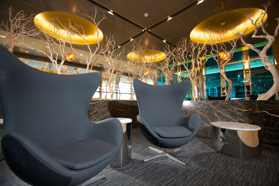 Reception area in United Global First Lounge, Heathrow T2