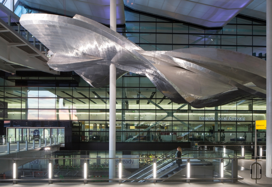 Slipstream by Richard Wilson at Heathrow's new Terminal 2 The Queen's Terminal. Photograher David Levene 4