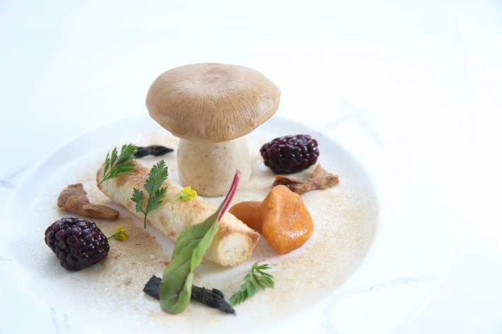 Foie gras, mushrooms and pickled blackberries