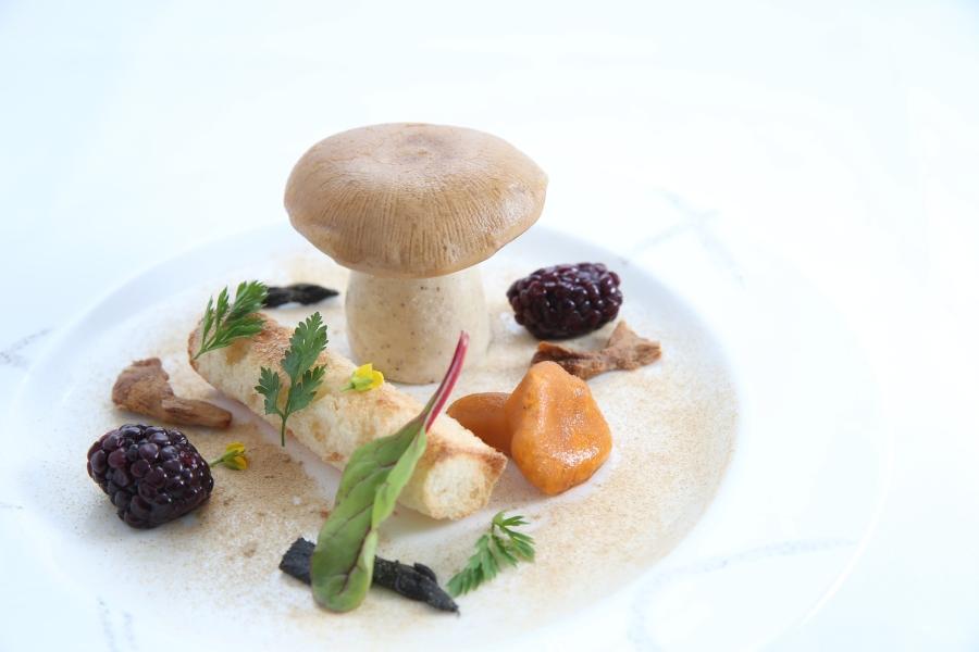 Foie gras, mushrooms and pickled blackberries