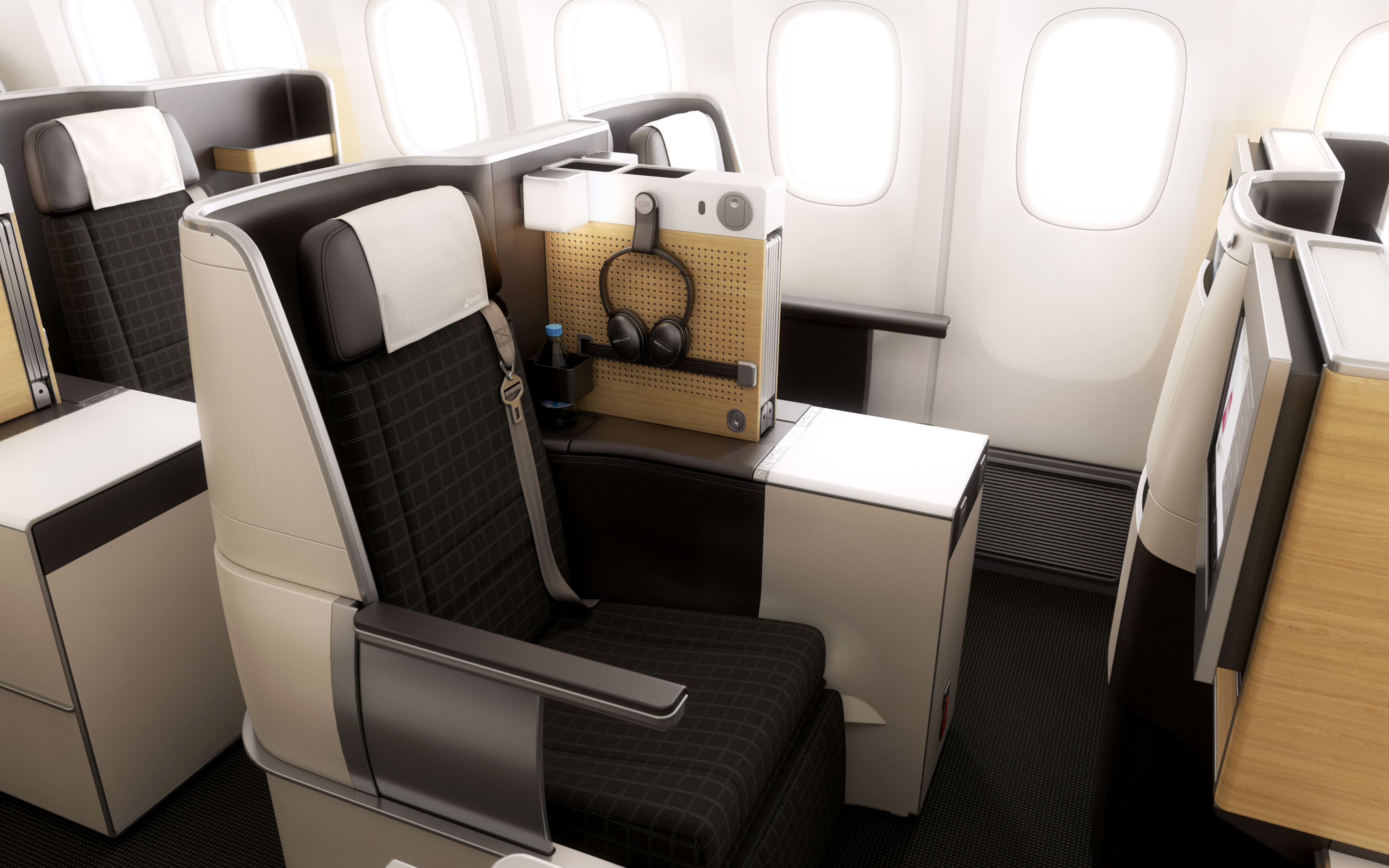 Swiss delight with beautiful new cabins on their 777s for International seating decor