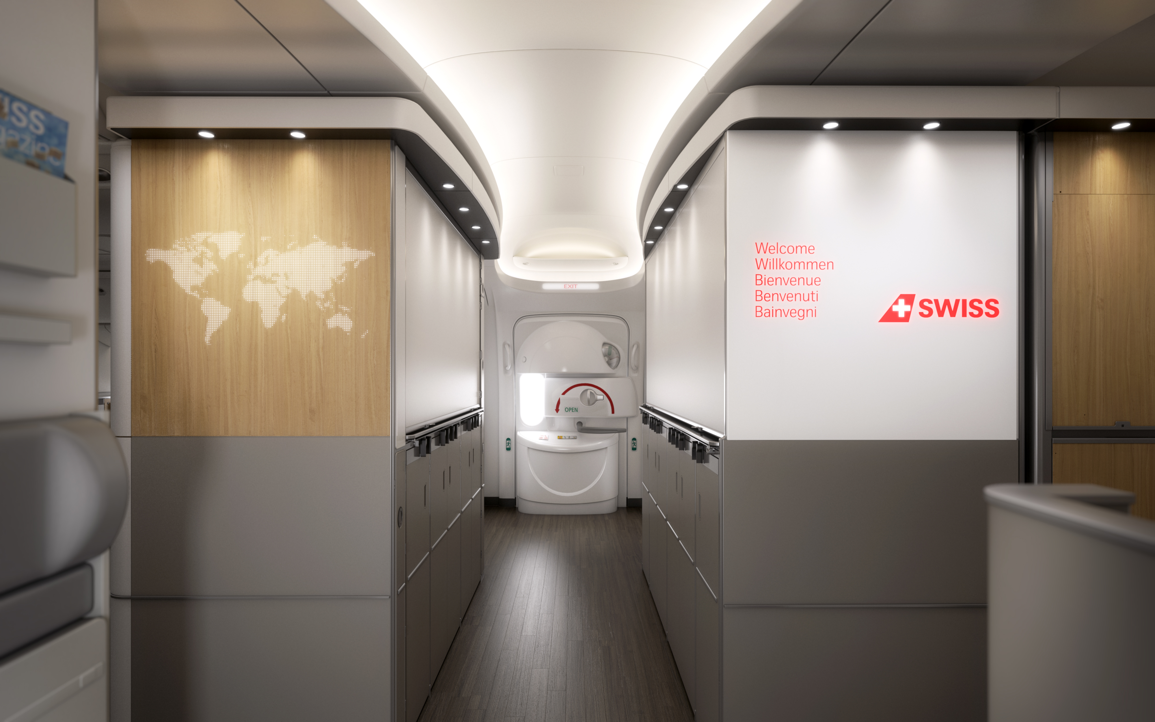 SWISS Airlines Boeing 777-300ER Entryway Business Class and First Class