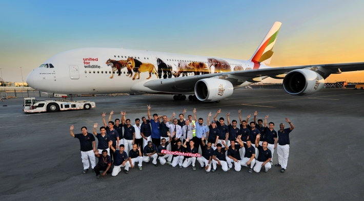 Emirates-A380-with-the-first-United-for-Wildlife-decal-with-Emirates-Aircraft-Appearance-Centre-Team