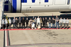 """The Cast Of """"Star Wars: The Force Awakens"""" On ANA Charter Flight From Los Angeles To The London Premiere"""