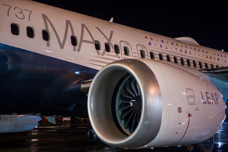 737MAX; 737MAX Rollout; Renton Factory; View from Left side; LEAP Engine; Evening; K66476-3; _JRA0983; 2015-12-08