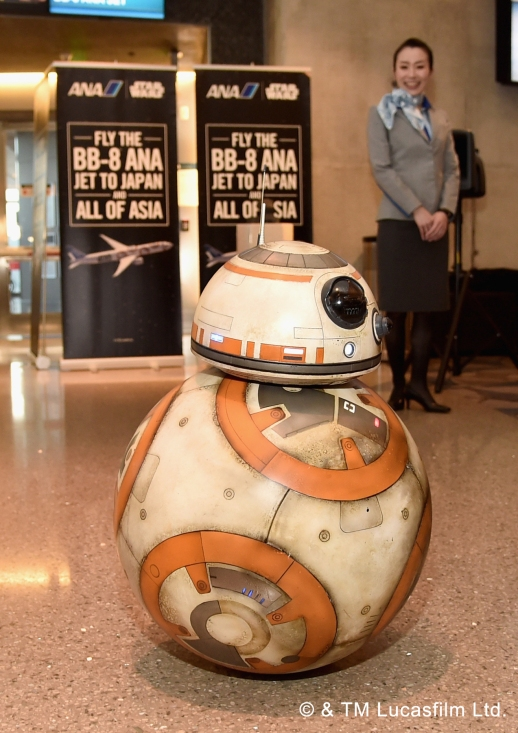 LOS ANGELES, CALIFORNIA - MARCH 28: ANA's BB-8 themed jet lands in Los Angeles in celebration of in-home release of STAR WARS: THE FORCE AWAKENS on March 28, 2016 in Los Angeles, California. (Photo by Alberto E. Rodriguez/Getty Images for Disney)