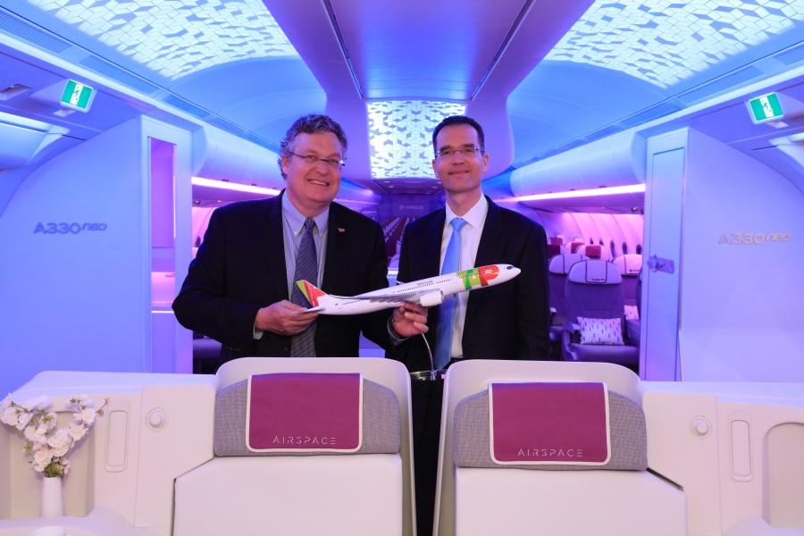 Trey Urbahn (TAP CCO) Francois Caudr on (Airbus Senior Vice President).jpg