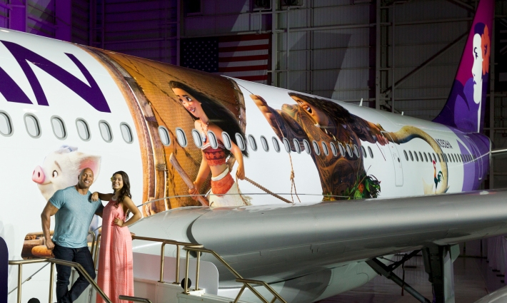 Hawaiian Airlines Moana themed plane