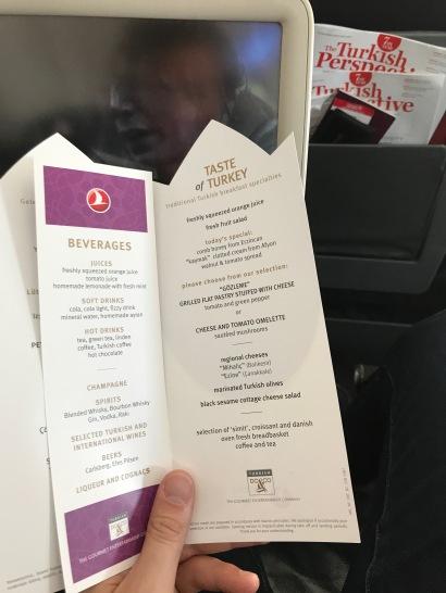 Turkish Airlines Breakfast Menu