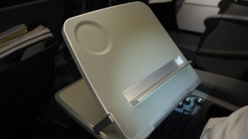 Turkish Airlines tray table designed for personal tablets
