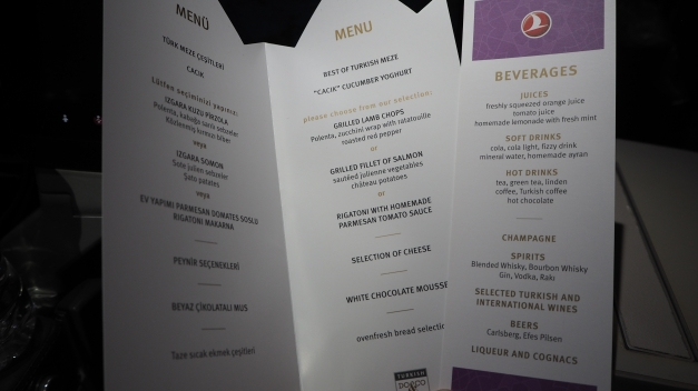 Turkish Airlines Evening Menu