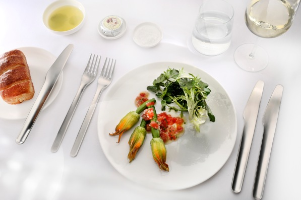 Neil-Perry-signature-cloud-plate-canape-dish-Zucchini-flowers-with-goats-cheese-filling-watercress-tarragon-and-tomato-vinaigrette