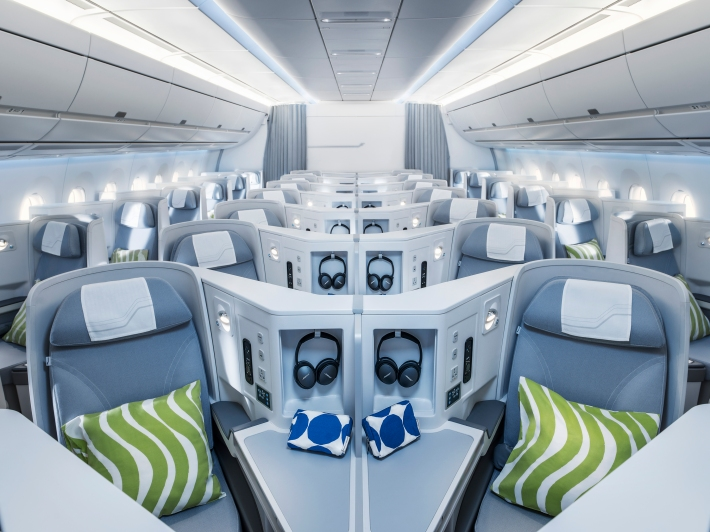 Finnair A350 business class cabin, general view cruise_72