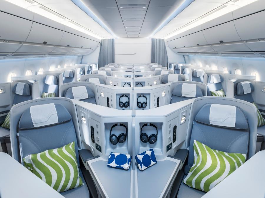 Finnair A350 business class cabin, general view cruise_72