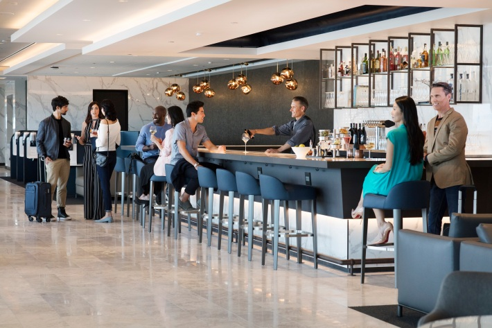The Bar at United Polaris lounge at SFO