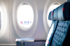 Details are shown on Delta Air Lines first A220 in Atlanta, Georgia at Hartsfield Jackson International airport on Sunday October 28,2018. (Chris Rank/Rank Studios 2018)