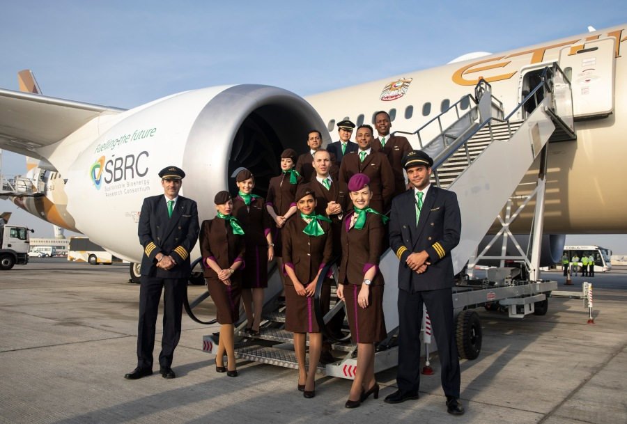 Etihad Airways cabin crew prepare for Earth Day flight.jpg