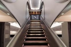 Qantas A380 upper deck lounge staircrase