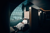 Plaza Premium Lounge Dubai - first-class cabin like space with sliding door