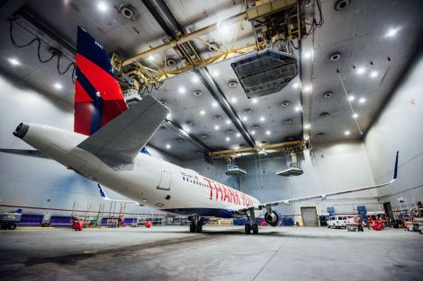 Delta Air Lines custom paints one of its A320s for profit sharing day in Atlanta, Ga. on Wednesday, February 12, 2020. (Photo by John Paul Van Wert for Rank Studios)